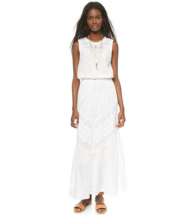 Burning Torch Ritual Embroidered Maxi Dress