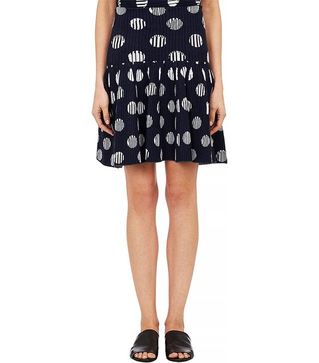 Kenzo Dots & Stripe Flounce Skirt