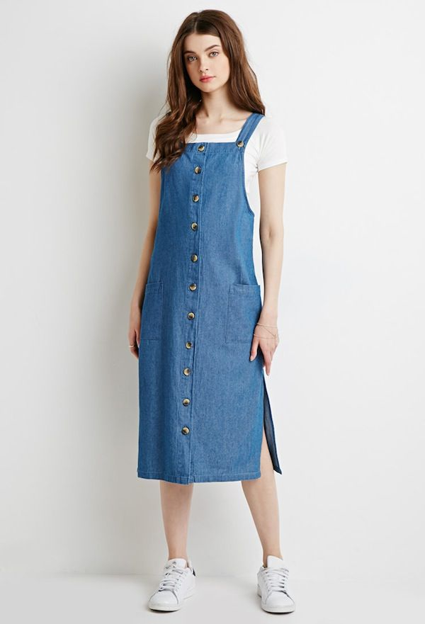 Forever21 Longline Chambray Overall Dress