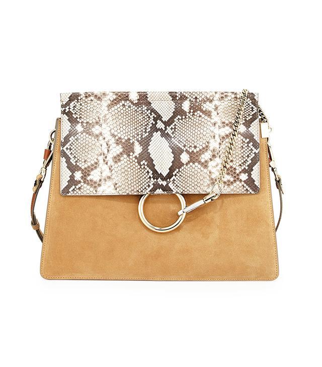 Chloé Faye Python Flap Shoulder Bag