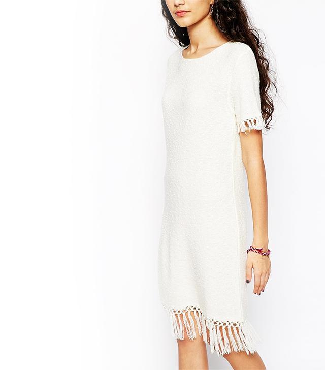 ASOS Slub Knit Dress With Fringing
