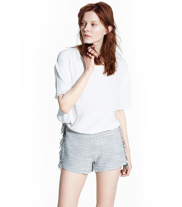 Mango Fringed Flecked Shorts