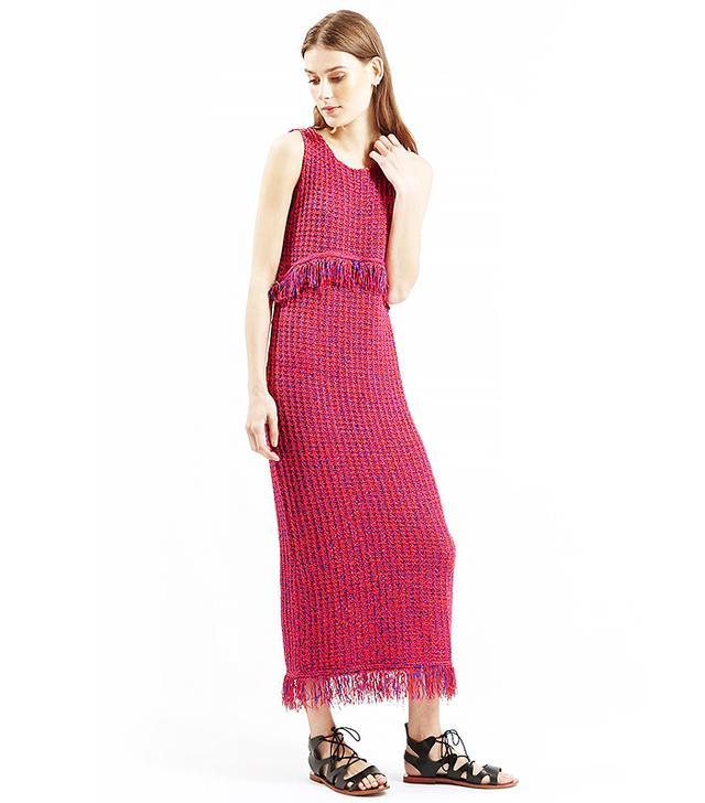 Topshop Fringe Stitch Maxi Dress