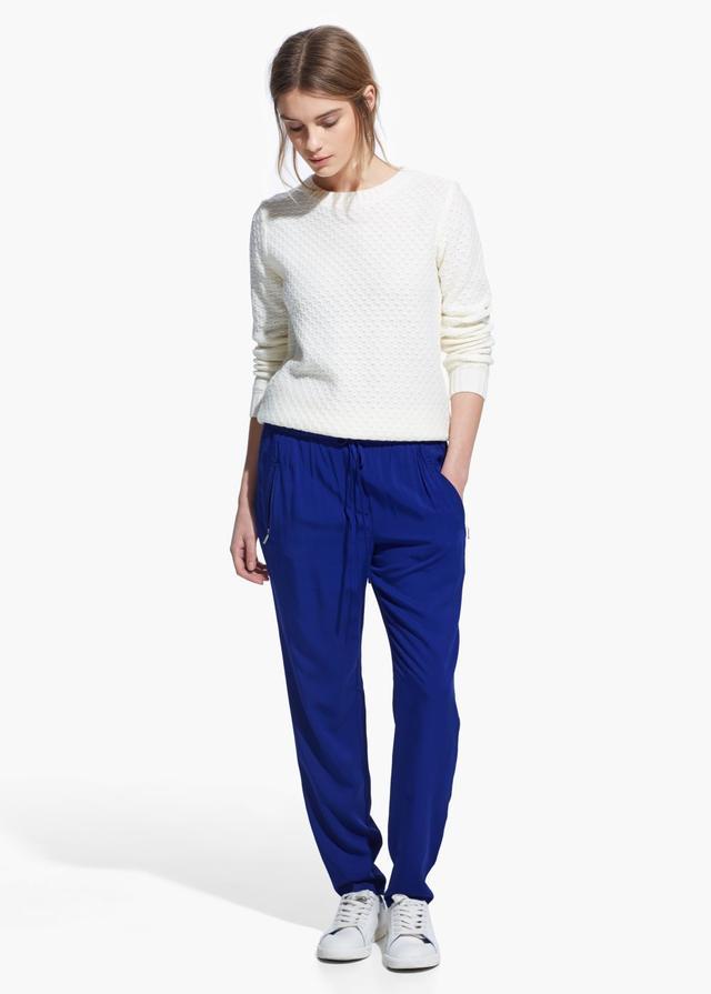 Mango Baggy Zip Trousers in Klein Blue