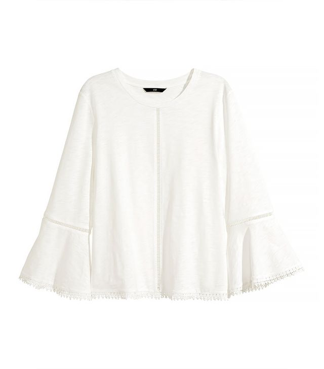 H&M Top With Hemstitch Embroidery