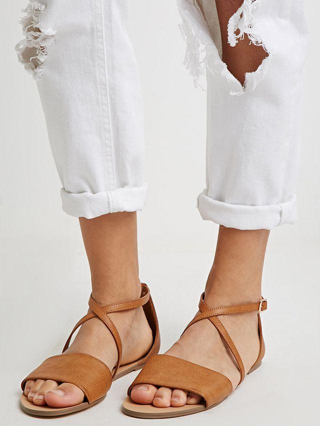 Forever 21 Faux Leather Crisscross-Strap Sandals