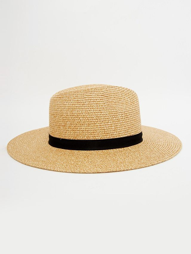 French Connection Wide-Brim Natural Straw Fedora Hat