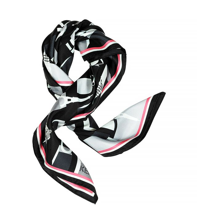 Kenzo Mini Logo Print Silk Scarf