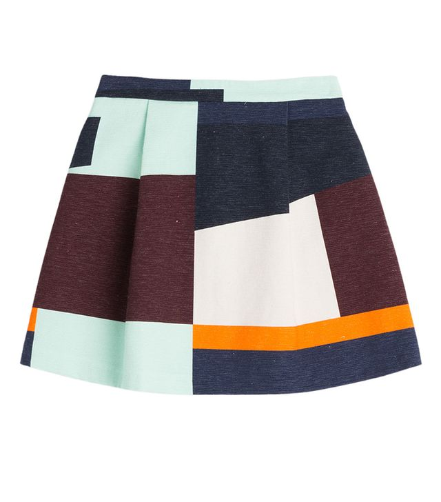 MSGM Color Block Cotton Skirt