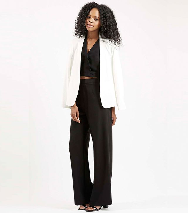 Topshop Crepe Wide Leg Trousers