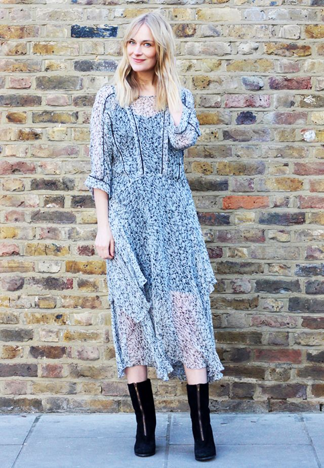 Flowy Dress + Ankle Boots