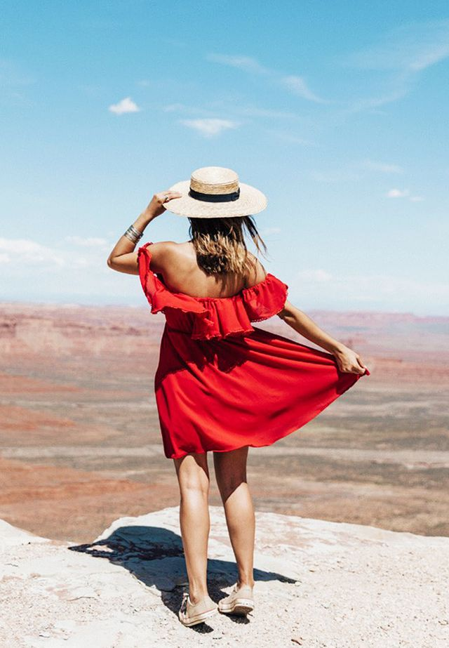 Straw Hat + Off-the-Shoulder Dress + Sneakers