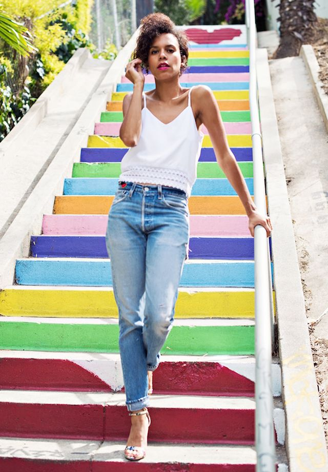 Camisole + Boyfriend Jeans + Ankle-Strap Sandals
