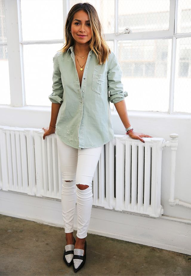 Chambray Shirt + White Jeans + Loafers