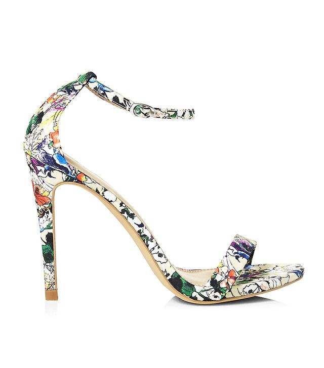 Express Watercolor Floral Sleek Heeled Sandals