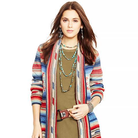 Serape Shawl-Collar Sweater