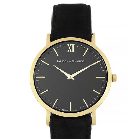 Läder Suede and Gold-Plated Watch