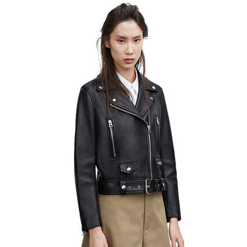 Mock Black Leather Jacket