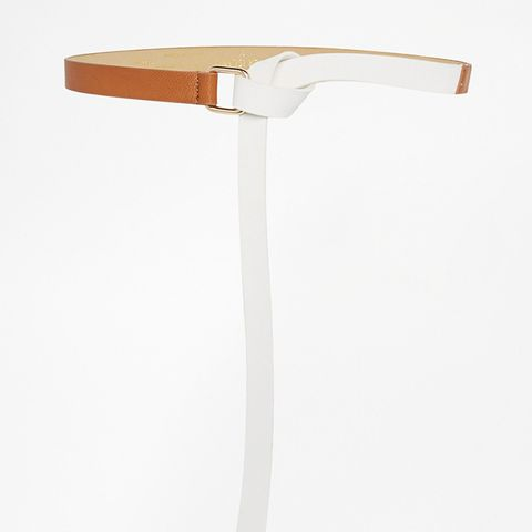 White Two Tone Long Knotted Belt