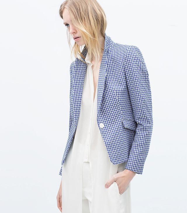 Zara Short Jacquard Blazer