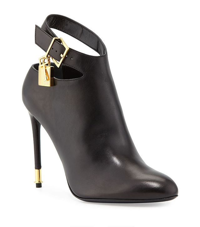 Tom Ford Leather Ankle-Strap Booties