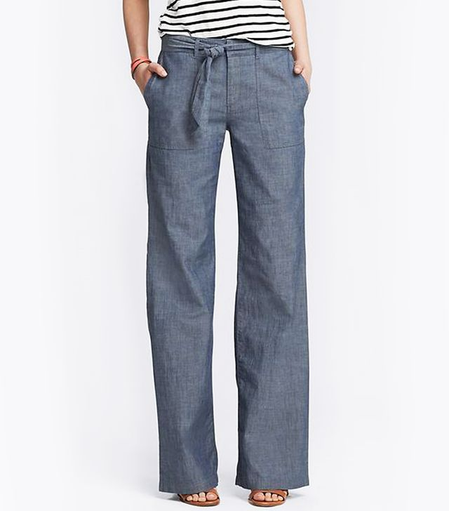 Banana Republic Chambray Tie-Front Wide-Leg Pants