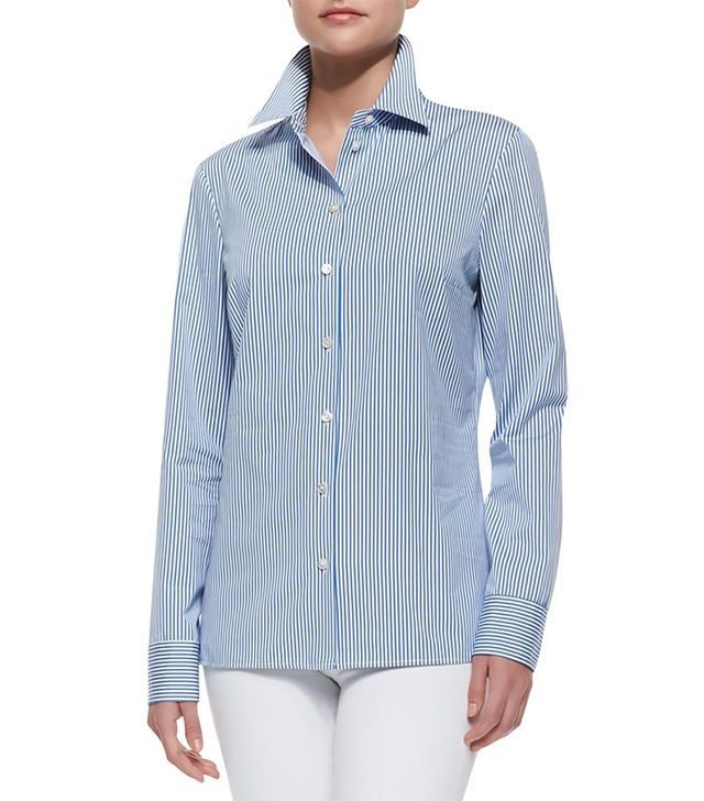Michael Kors Ticking Stripe Silk-Georgette Shirt