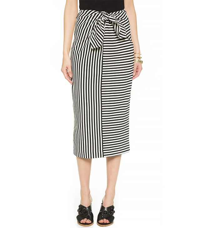 Tibi Tie Front Pencil Skirt