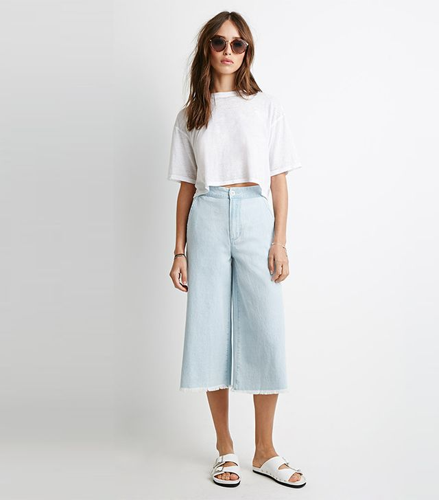 Forever 21 Frayed Denim Gauchos