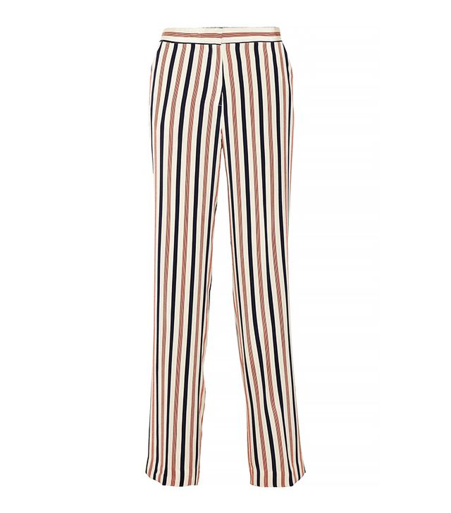 By Malene Birger Vanamala Striped Silk Wide-Leg Pants