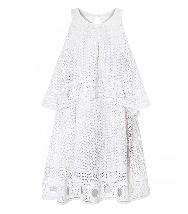 Pixie Market White Ring Hem Eyelet Dress
