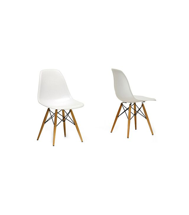 Baxton Studio Pair of Wood Leg White Accent Chairs