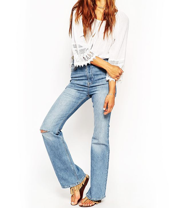 ASOS Farleigh Flare Jeans in Vintage Wash With Ripped Knee