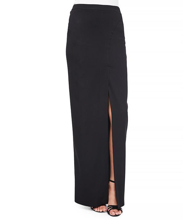 Nicole Miller Stretch Crepe Front-Slit Maxi Skirt
