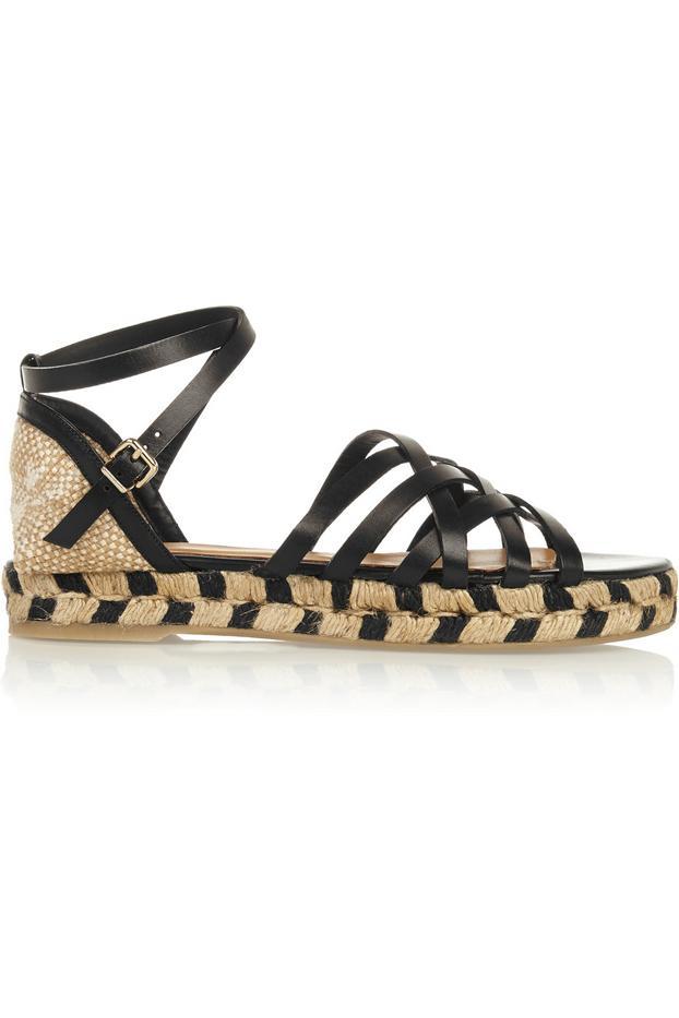 Castañer Rita Leather and Canvas Espadrille Sandals