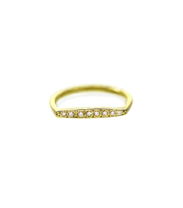 Sophie Hughes 18K Recycled Gold Dainty D Ring With Diamonds