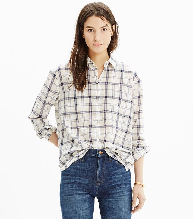 Madewell Oversized Boyshirt in Pebble Plaid