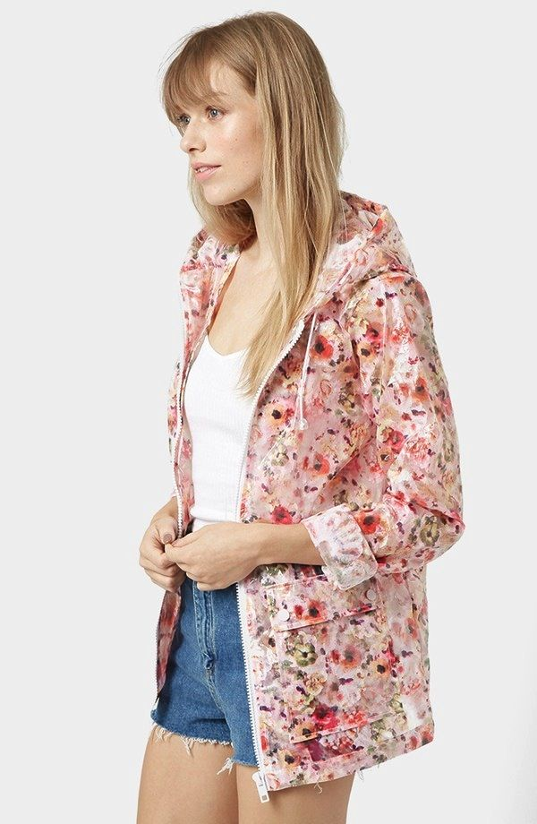 Topshop Floral Hooded Raincoat