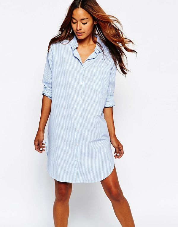Noisy May Oversized Striped Shirt Dress With High Hem Detail