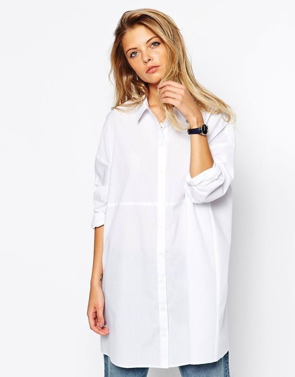ASOS Oversized Longline White Shirt