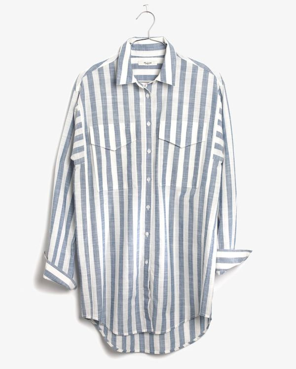 Madewell Oversized Button-Down Shirt in Major Stripe
