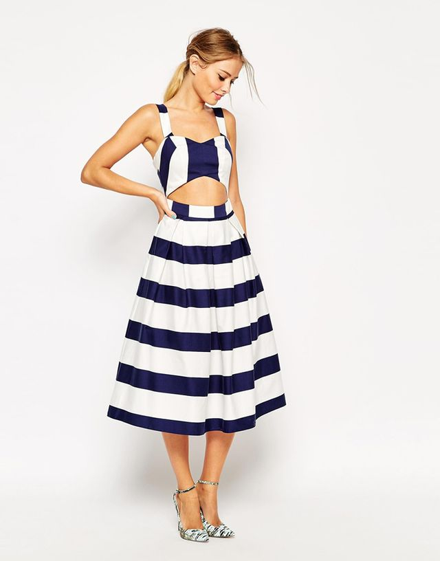 ASOS Stripe Cut-Out Midi Prom Dress