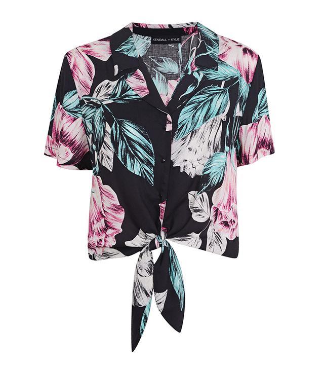 Kendall + Kylie at Topshop Floral Print Hawaiian Shirt