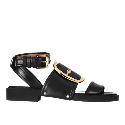 Oversized Buckle Sandals, Black Leather