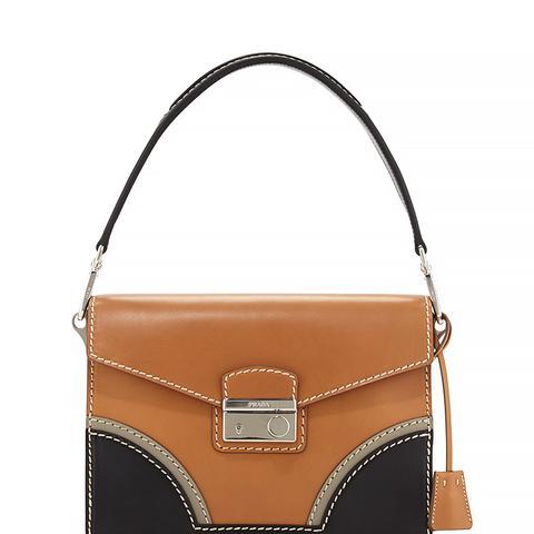 Vachetta Bicolor Shoulder Bag, Natural/Black