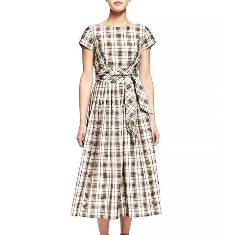 Plaid Tie-Waist Midi Dress, Muslin/Black