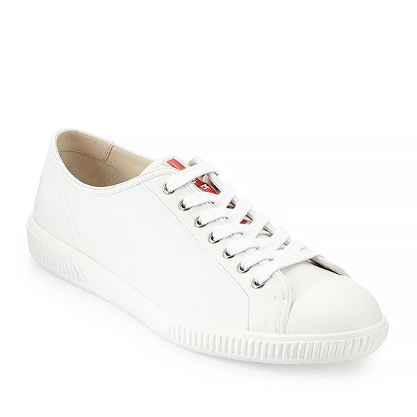 Prada Cap-Toe Low-Top Sneaker, White