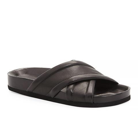 Orson Leather Crisscross Slide, Black