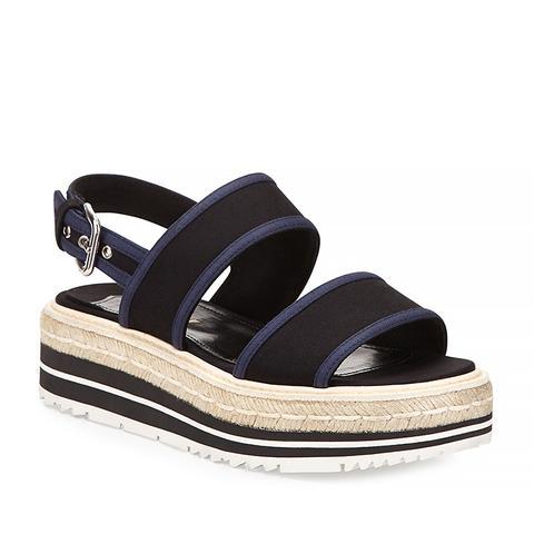 Gabardine Bicolor Espadrille Sandal, Black/Navy