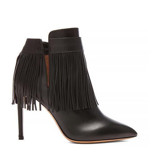 Rockee Fringe Leather Ankle Boots, Black